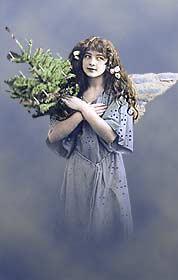 [Ángel de la navidad. Fotográfía coloreada en tarjeta postal  de principios del siglo XX]