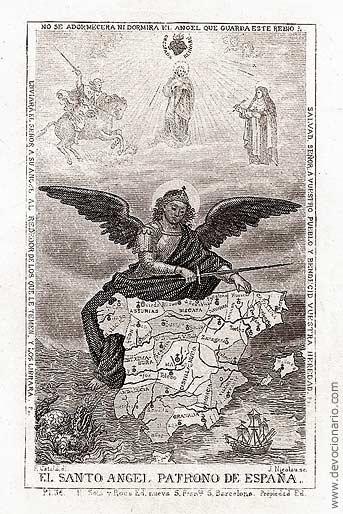 [Estampa de alrededor de 1900 del Santo Ángel patrono  de España]