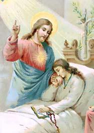 [Jesús me acompaña en la enfermedad. Estampa religiosa antigua]