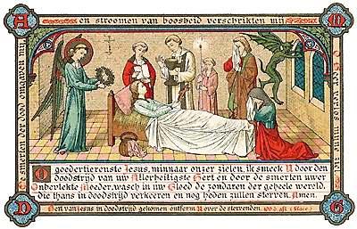 [Ultimos sacramentos. Estampa religiosa impresa en 1880]