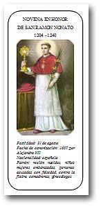 Portada del folleto con la novena en honor de San Ramón Nonato]