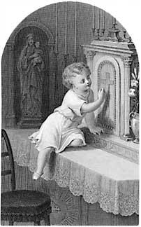 [Niño llamando a la puerta del Tabernáculo. Estampa religiosa francesa de finales del siglo XIX]