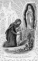 """[Estampa francesa de 1867 titulada """"La primera oración a Nuestra Señora de Lourdes""""]"""