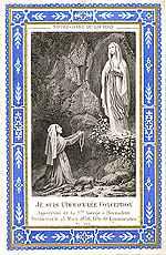 [Estampa francesa de finales del siglo XIX en la que se conmemora la aparición de la Virgen a santa Bernardette el 25 de marzo de 1858]