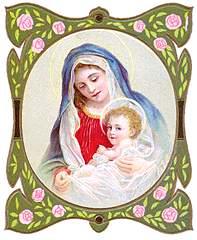 [Virgen con el niño Jesús. Ilustración de una estampa religiosa]