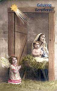 [Escena de la natividad. Fotografía en tarjeta postal de principios del siglo XX]