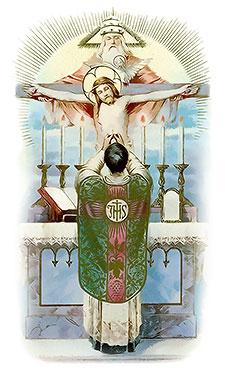Sacerdote celebrando Misa. Ilustración]