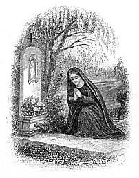 [Oración ante la tumba. Estampa religiosa de finales del siglo XIX]