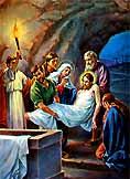[Jesús es colocado en el sepulcro]